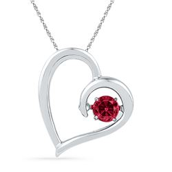 0.20 CTW Created Ruby Heart Love Pendant 10KT White Gold - REF-13K4W
