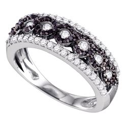 0.70 CTW Black Color Diamond Circular Ring 10KT White Gold - REF-57M2H