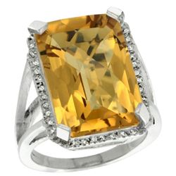 Natural 15.06 ctw Whisky-quartz & Diamond Engagement Ring 14K White Gold - REF-75K3R