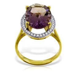 Genuine 5.28 ctw Amethyst & Diamond Ring Jewelry 14KT Yellow Gold - REF-83A3K