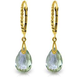 Genuine 6 ctw Green Amethyst Earrings Jewelry 14KT Yellow Gold - REF-30Y6F