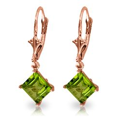 Genuine 3.2 ctw Peridot Earrings Jewelry 14KT Rose Gold - REF-30M2T
