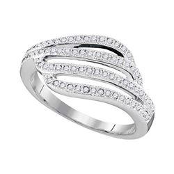 0.33 CTW Diamond Four Row Strand Ring 10KT White Gold - REF-30H2M