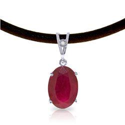 Genuine 7.71 ctw Ruby & Diamond Necklace Jewelry 14KT White Gold - REF-84A2K