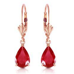 Genuine 3.5 ctw Ruby Earrings Jewelry 14KT Rose Gold - REF-38Z6N