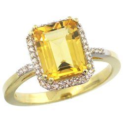 Natural 2.63 ctw Citrine & Diamond Engagement Ring 14K Yellow Gold - REF-42K8R