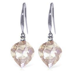 Genuine 25.7 ctw White Topaz & Diamond Earrings Jewelry 14KT White Gold - REF-54Z6N