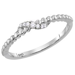 0.04 CTW Diamond Crossover Stackable Ring 10KT White Gold - REF-8M9H