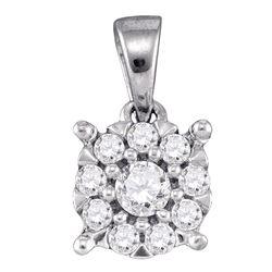 0.26 CTW Diamond Flower Cluster Pendant 14KT White Gold - REF-25K4W