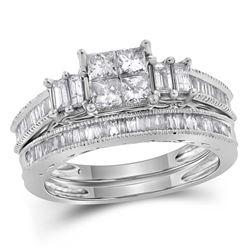 0.99 CTW Princess Diamond Bridal Engagement Ring 14KT White Gold - REF-112M5H