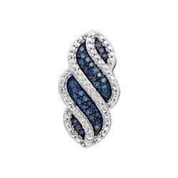 0.10 CTW Blue Color Diamond Vertical Pendant 10KT White Gold - REF-14W9K
