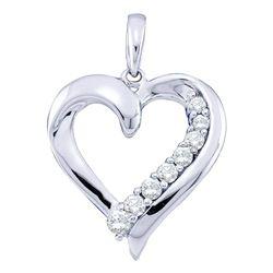 0.23 CTW Diamond Heart Pendant 10KT White Gold - REF-19X4Y