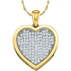 1 CTW Diamond Heart Pendant 10KT Yellow Gold - REF-82K4W