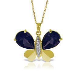 Genuine 10.60 ctw Sapphire & Diamond Necklace Jewelry 14KT Yellow Gold - REF-181T9A