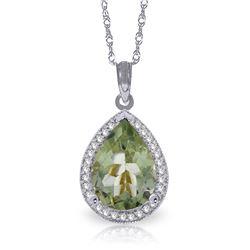Genuine 3.36 ctw Green Amethyst & Diamond Necklace Jewelry 14KT White Gold - REF-69P6H