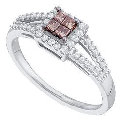 0.33 CTW Princess Cognac-brown Color Diamond Split-shank Ring 14KT White Gold - REF-38W9K