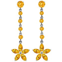 Genuine 4.8 ctw Citrine Earrings Jewelry 14KT White Gold - REF-56H8X