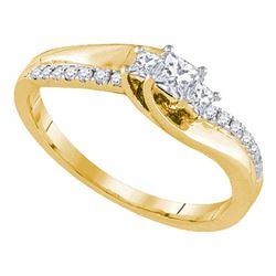 0.33 CTW 3-stone Princess Diamond Bridal Anniversary Ring 14k Yellow Gold - REF-52Y4X