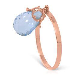 Genuine 3 ctw Blue Topaz Ring Jewelry 14KT Rose Gold - REF-22W5Y