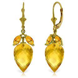Genuine 20 ctw Citrine Earrings Jewelry 14KT Yellow Gold - REF-51F8Z