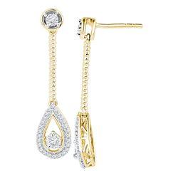 0.25 CTW Diamond Teardrop Screwback Dangle Earrings 10KT Yellow Gold - REF-26W5K