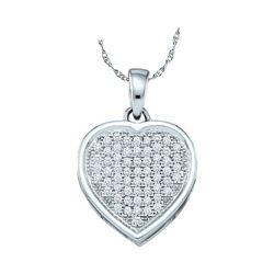 0.20 CTW Diamond Small Simple Heart Love Pendant 10KT White Gold - REF-19F4N