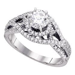 0.88 CTW Diamond Woven Openwork Bridal Wedding Engagement Ring 14K White Gold - REF-142F4N
