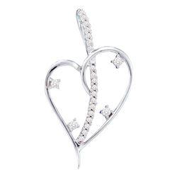 0.20 CTW Diamond Wire Heart Love Pendant 14KT White Gold - REF-22K4W