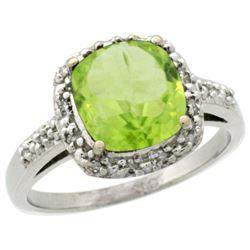 Natural 2.4 ctw Peridot & Diamond Engagement Ring 10K White Gold - REF-26V3F