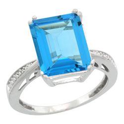 Natural 5.42 ctw Swiss-blue-topaz & Diamond Engagement Ring 10K White Gold - REF-57Y3X