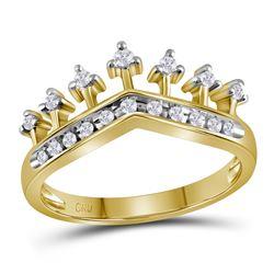 0.20 CTW Diamond Crown Tiara Ring 10KT Yellow Gold - REF-22H4M