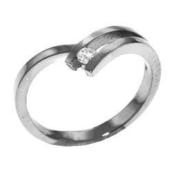 Genuine 0.10 ctw Diamond Anniversary Ring Jewelry 14KT White Gold - REF-54H9X