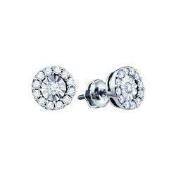 0.30 CTW Diamond Illusion-set Solitaire Stud Earrings 10KT White Gold - REF-22H4M