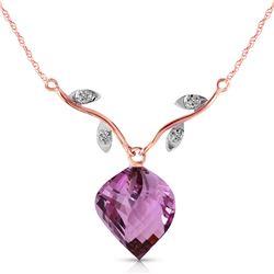 Genuine 10.77 ctw Amethyst & Diamond Necklace Jewelry 14KT Rose Gold - REF-40P5H