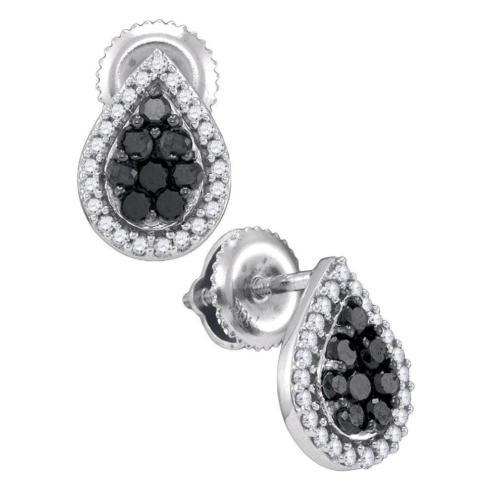 1dbc1f5aa Loading zoom · Image 1 : 0.55 CTW Black Color Diamond Teardrop Cluster Stud  Earrings 10KT White Gold ...
