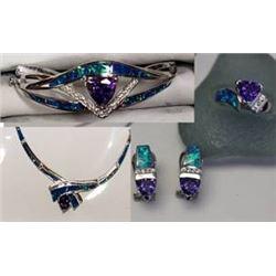 Crushed Opal and Tanzanite Jewelry set