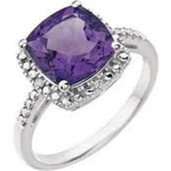 Brazilin Amethyst and Diamond Ring