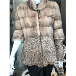 ALASKA FUR GALLERY: Ladies African Swakara Lamp Coat with Rovalia Mink and Detacheable Sleeves