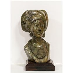 "CALL OF AFRICA: ""Xhosa Woman"" - Original Verdite Bust Sculpture by Zimbabwean Artist James Tandi"