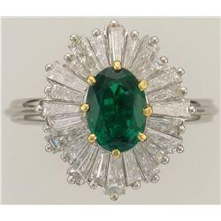 MJ MILLER: Stunning Ladies Platinum Emerald and Diamond Ring