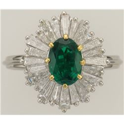MJ MILLER: Stunning Ladies Platinum Emerald and Diamond Ring