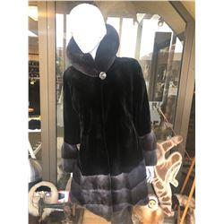 ALASKA FUR GALLERY'S Ladies Black Sheared Mink Stroller with Natural Long Hair Luticia Mink Collar,