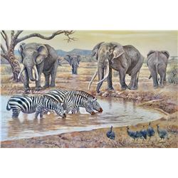 "(Revised) BLACKWELL ART: ""The Local Watering Hole"" - Acrylic on canvas by Peter Blackwell"