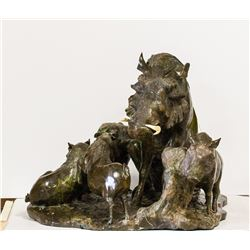"CALL OF AFRICA: ""Hog Family"" - Original Verdite Sculpture by Zimabwean Artist James Tandi"