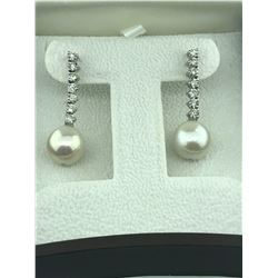 KELLY MITCHELL: Gorgeous Pair of Custom Drop Diamond and Pearl Earrings