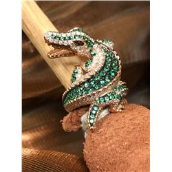 AVANTI: Ladies 18K Rose Gold Custom-Made Alligator Ring with Diamonds and Tsarovite Green Garnets