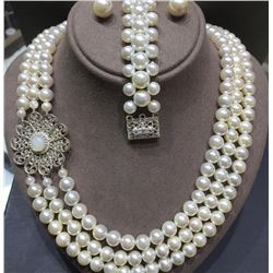 SAFARI INTERNATIONAL: Beautiful Handmade Ohrid Pearl Necklace with Matching Earrings and Bracelet
