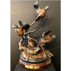 WELLS GALLERY:  Bob White Covey  - Original Bronze Sculpture by Ronnie Wells