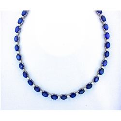 BARANOF JEWELERS: Magnificent Ladies 45 Carat Tanzanite and Diamond Necklace Set in 14K White Gold