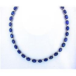 BARANOF JEWELERS: Magnificent Ladies 45 Carat Tanzanite and Diamond Necklace Set in 14K White Gold